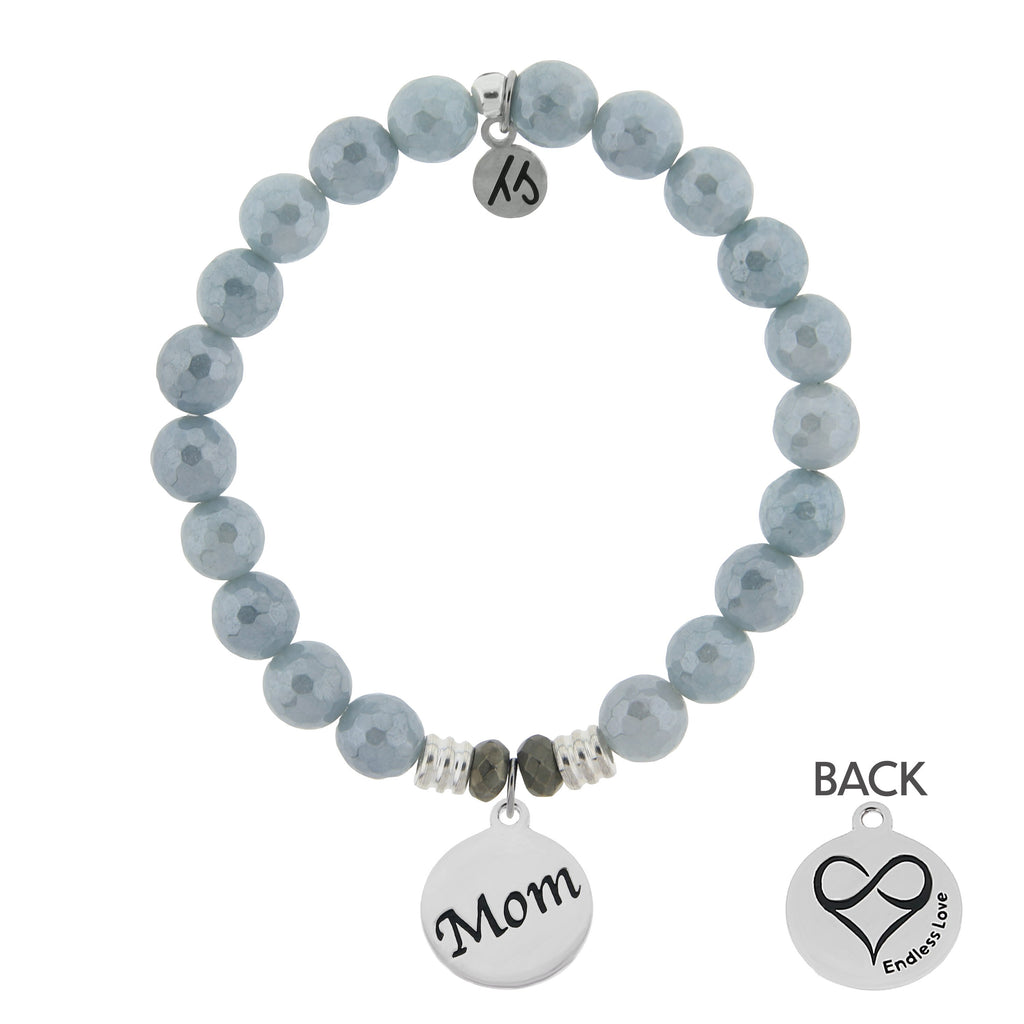 Blue Quartzite Stone Bracelet with Mom Endless Love Sterling Silver Charm