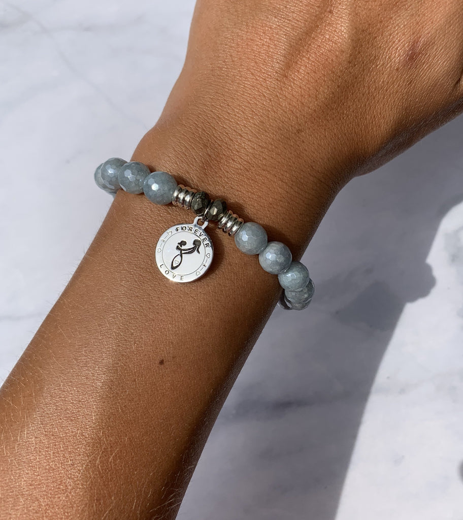 Blue Quartzite Stone Bracelet with Mother's Love Sterling Silver Charm