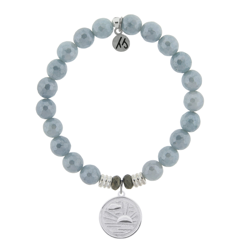 Blue Quartzite Stone Bracelet with New Day Sterling Silver Charm