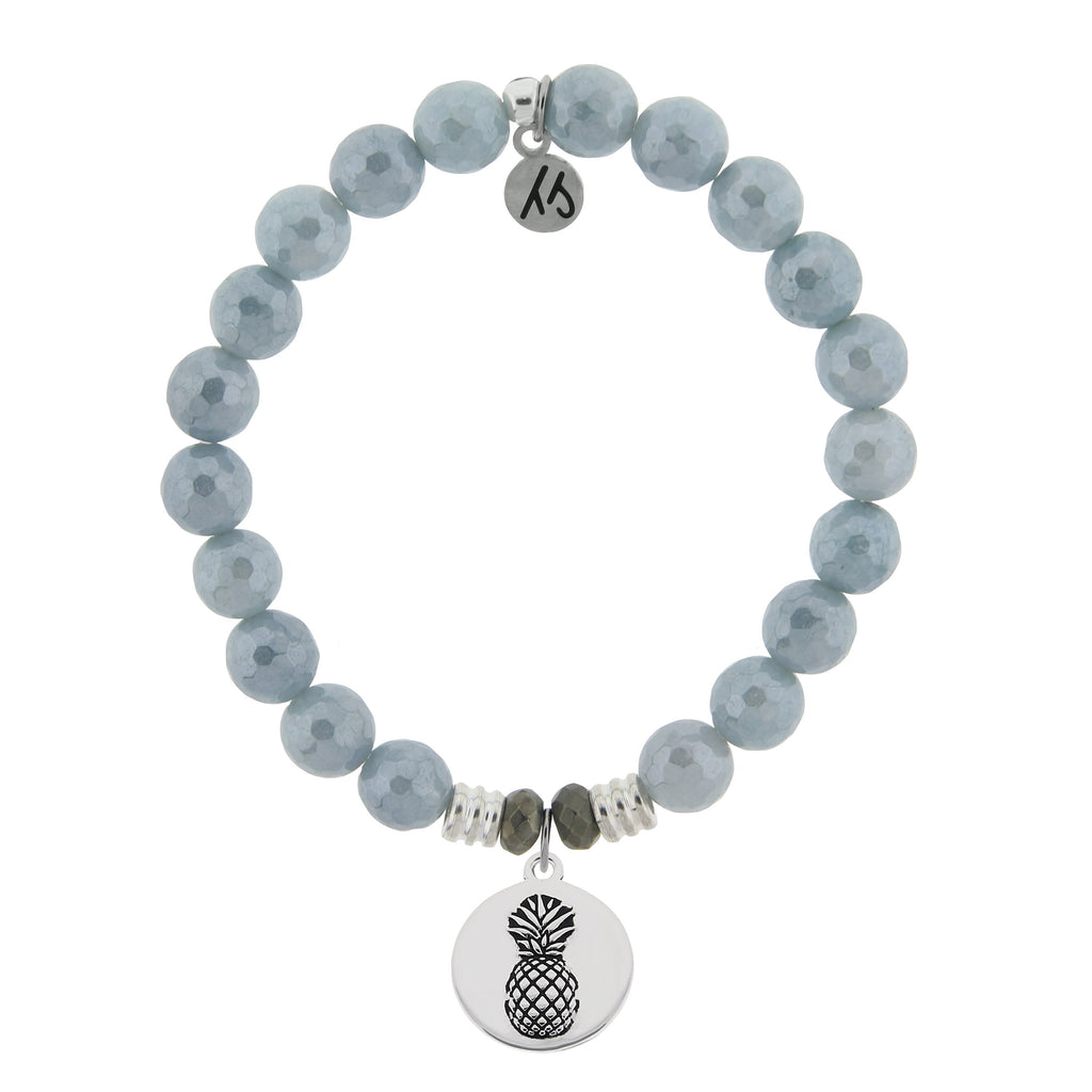 Blue Quartzite Stone Bracelet with Pineapple Sterling Silver Charm