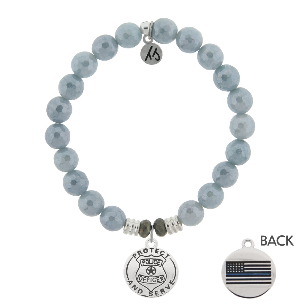 Blue Quartzite Stone Bracelet with Protect and Serve Sterling Silver Charm
