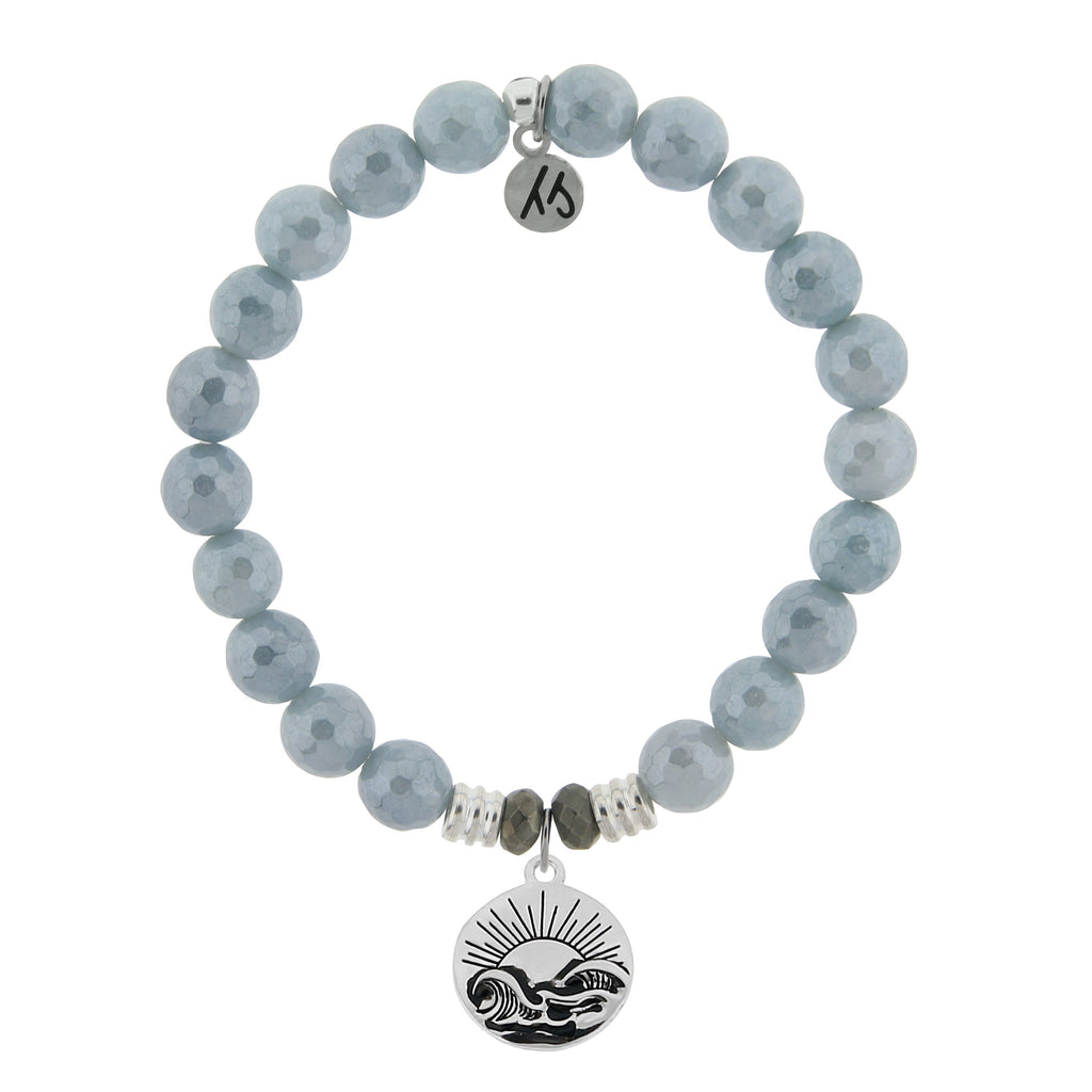 Blue Quartzite Stone Bracelet with Rising Sun Sterling Silver Charm