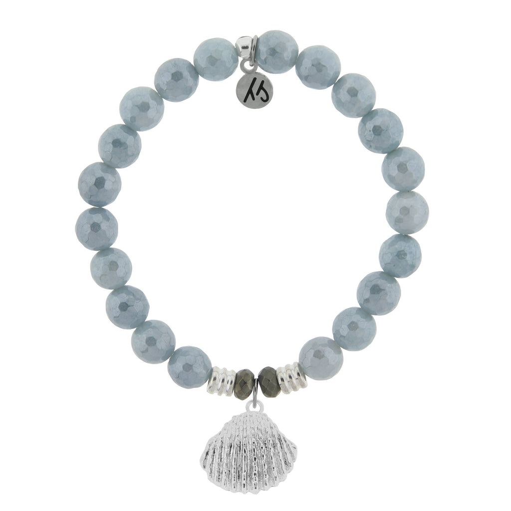 Blue Quartzite Stone Bracelet with Seashell Sterling Silver Charm