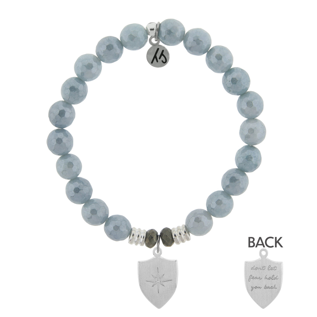 Blue Quartzite Stone Bracelet with Shield Of Strength Sterling Silver Charm