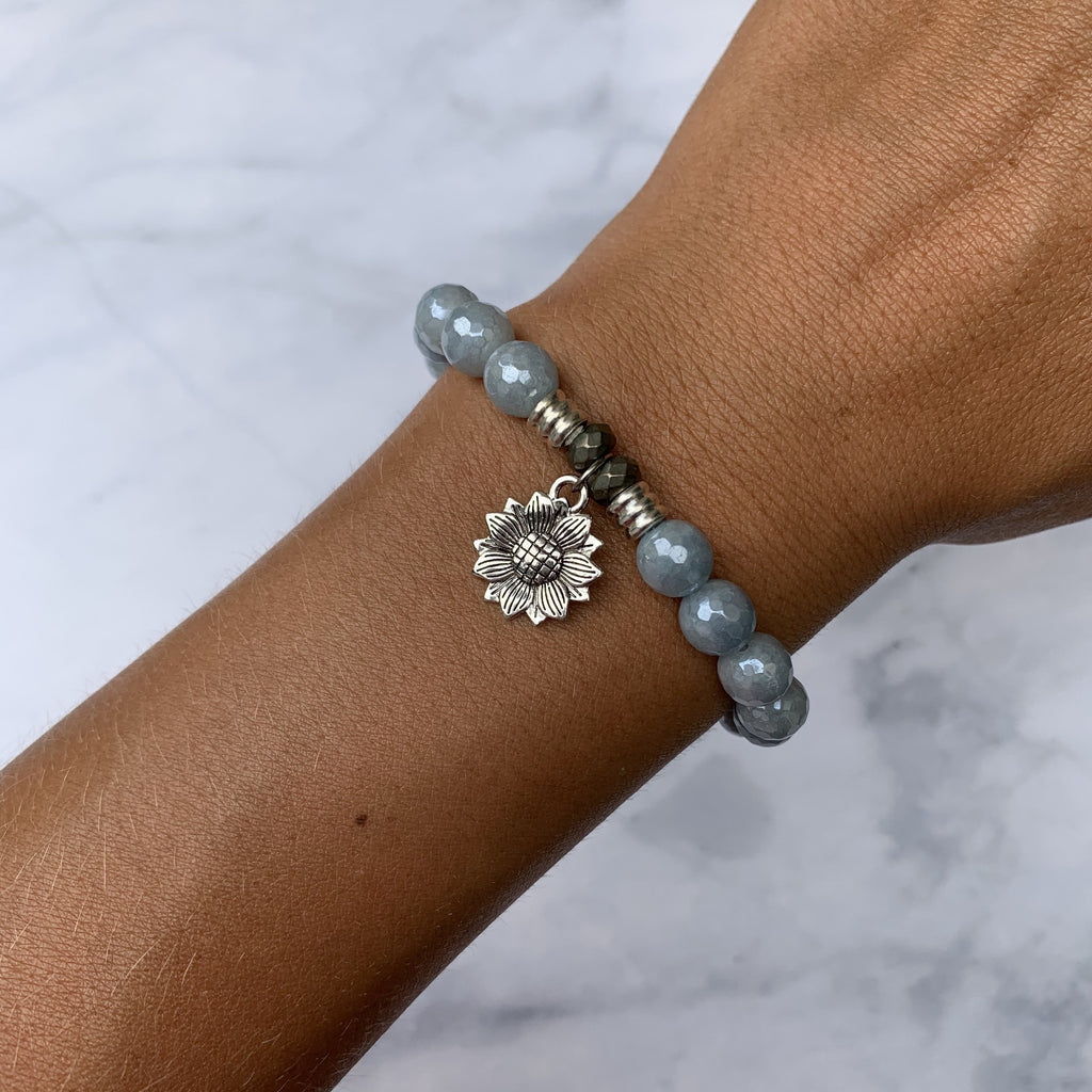 Blue Quartzite Stone Bracelet with Sunflower Sterling Silver Charm