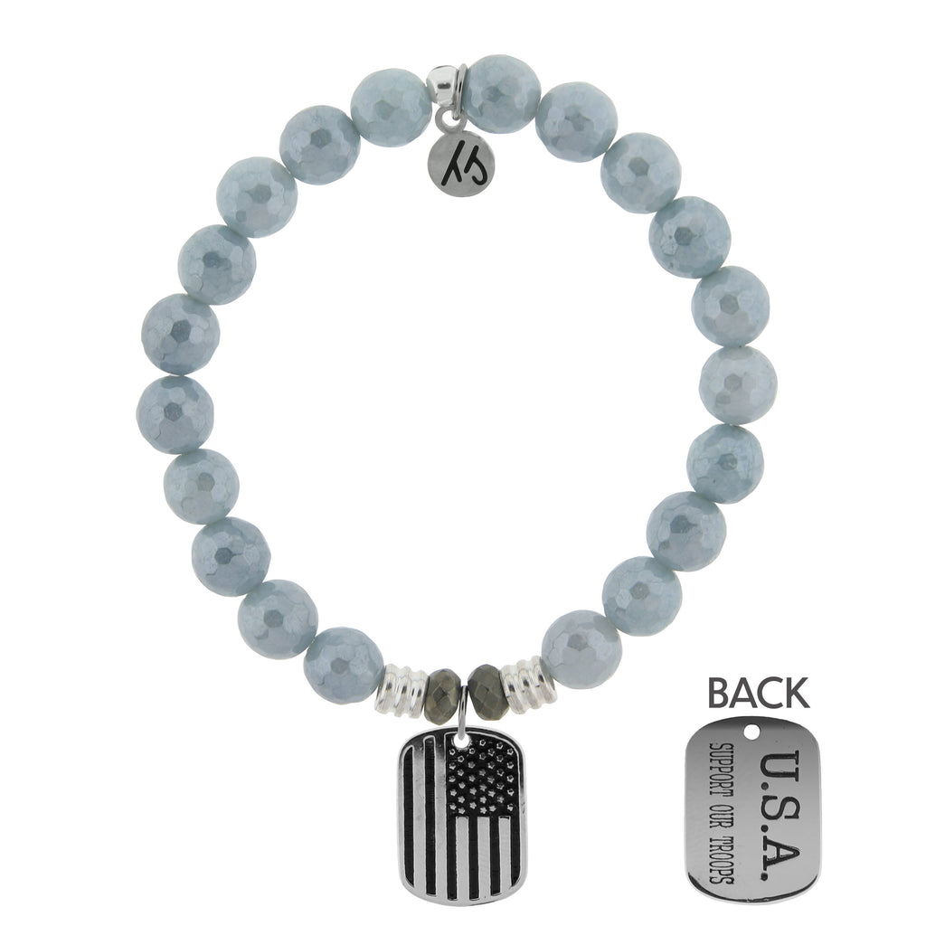 Blue Quartzite Stone Bracelet with Support Our Troops Sterling Silver Charm