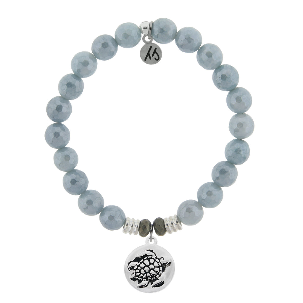 Blue Quartzite Stone Bracelet with Turtle Sterling Silver Charm