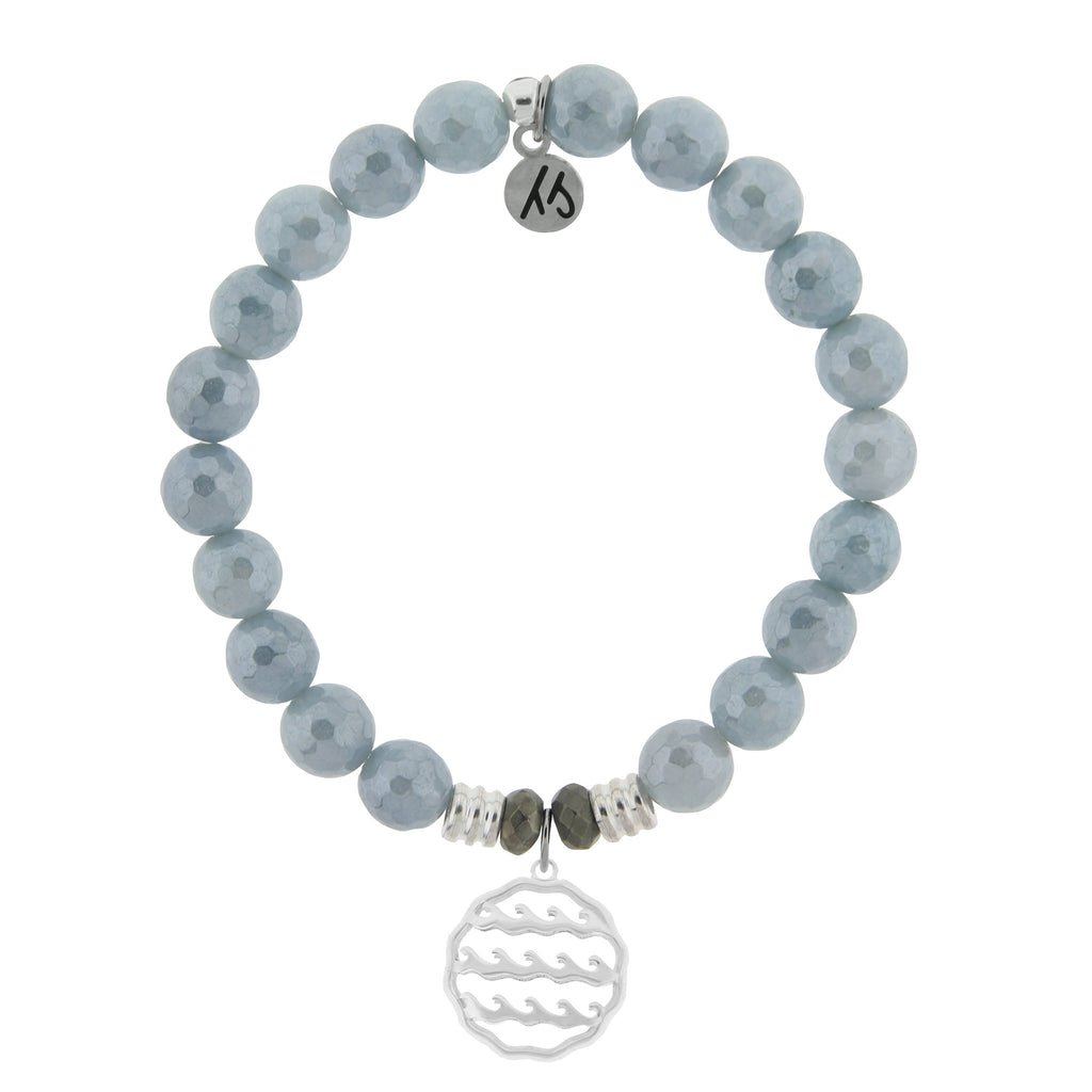 Blue Quartzite Stone Bracelet with Waves of Life Sterling Silver Charm