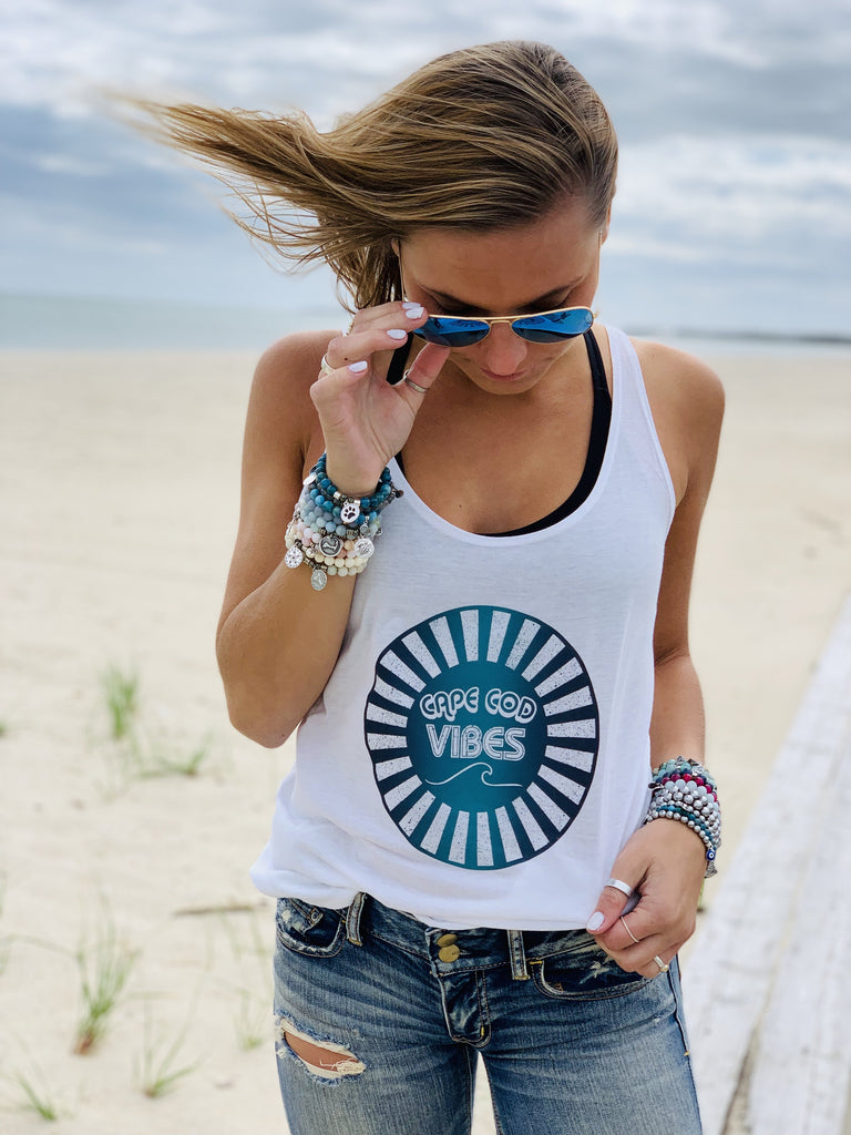 Cape Cod Vibes Tank Top- White