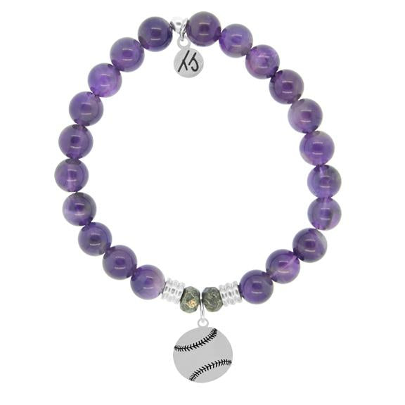 Champions Collection-Amethyst Stone Bracelet with Baseball Sterling Silver Charm