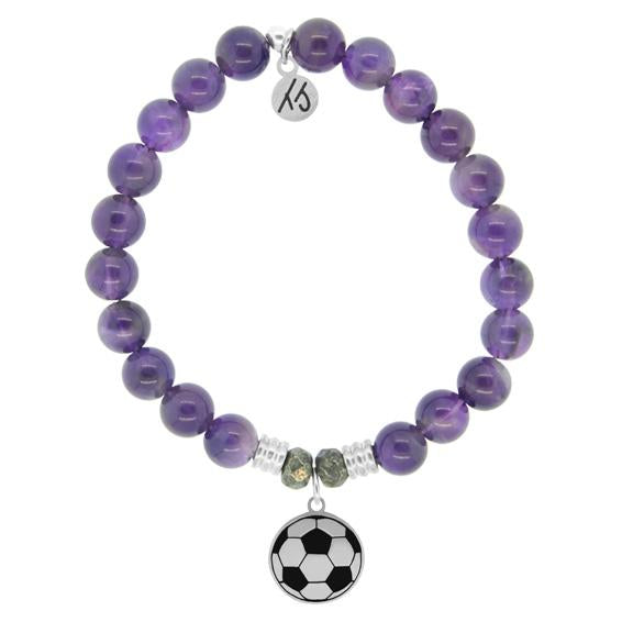 Champions Collection-Amethyst Stone Bracelet with Soccer Sterling Silver Charm
