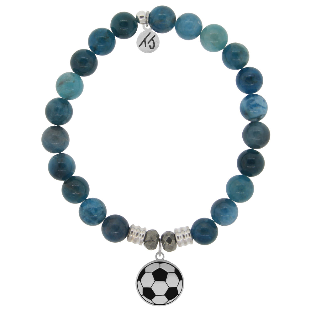Champions Collection- Arctic Apatite Stone Bracelet with Soccer Sterling Silver Charm