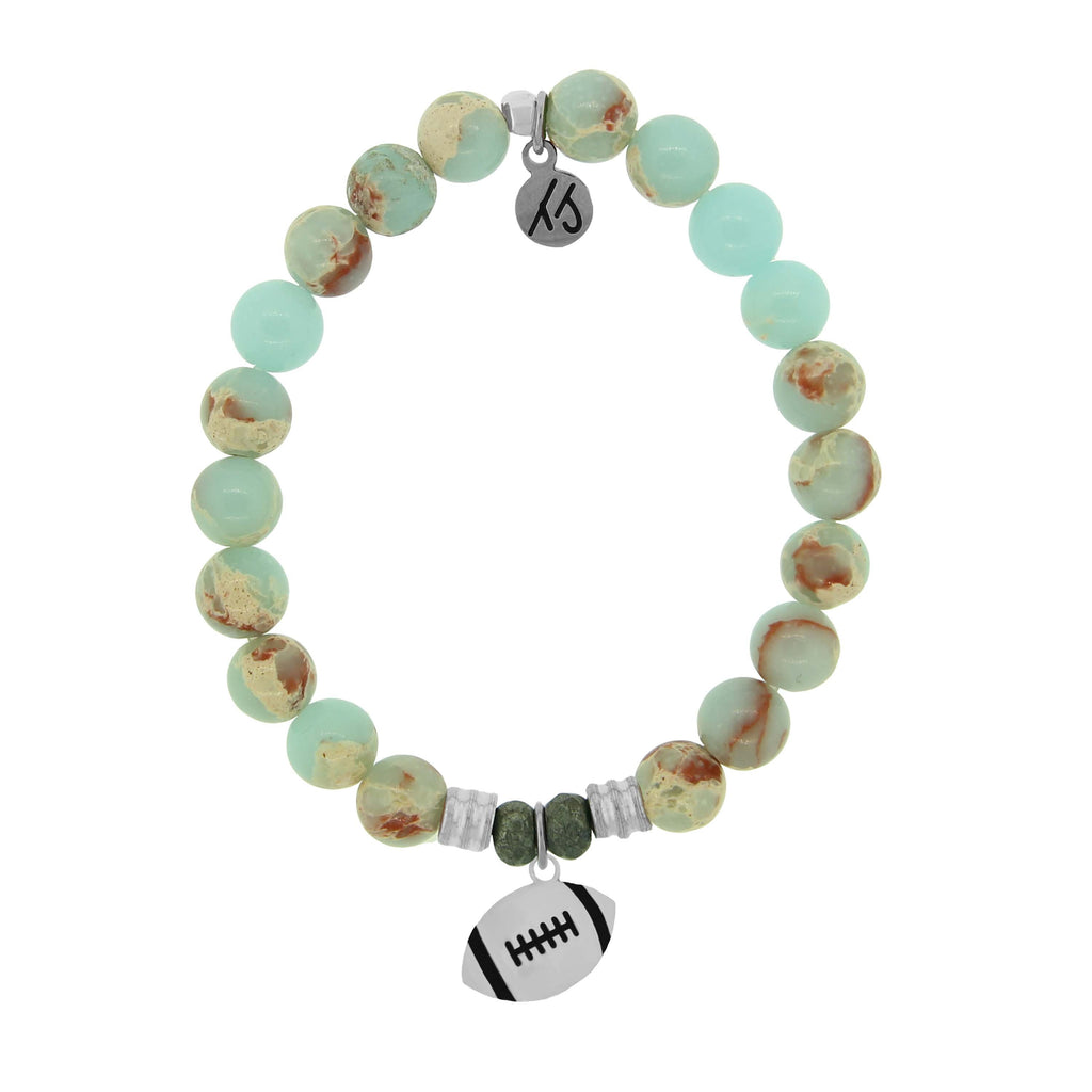 Champions Collection-Desert Jasper Stone Bracelet with Football Sterling Silver Charm