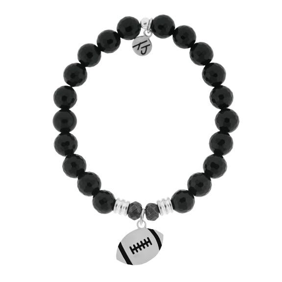 Champions Collection-Onyx Stone Bracelet with Football Sterling Silver Charm