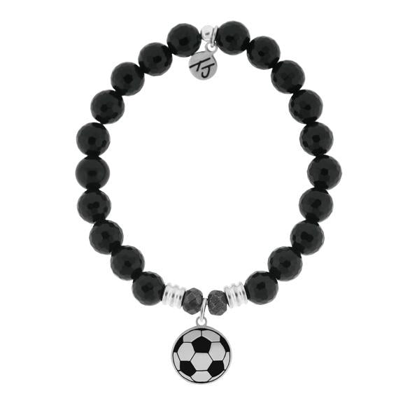 Champions Collection-Onyx Stone Bracelet with Soccer Sterling Silver Charm