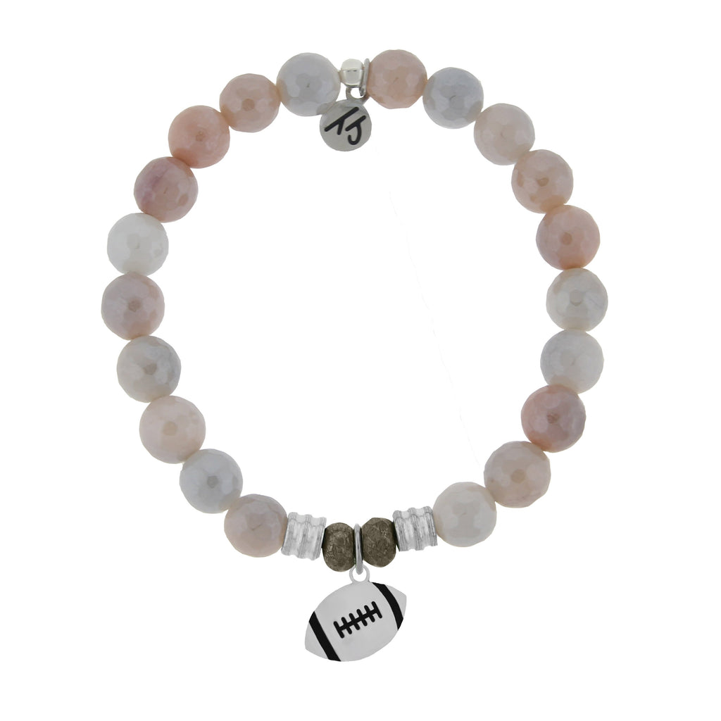 Champions Collection-Sunstone Stone Bracelet with Football Sterling Silver Charm
