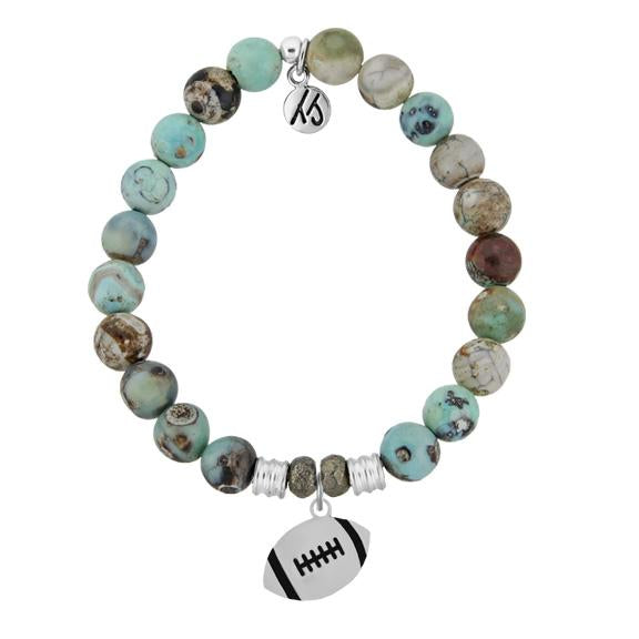 Champions Collection-Turquoise Jasper Stone Bracelet with Football Sterling Silver Charm