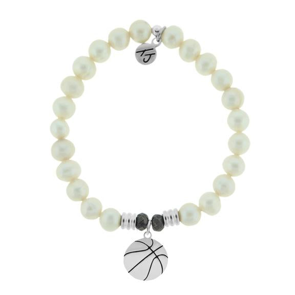 Champions Collection-White Pearl Stone Bracelet with Basketball Sterling Silver Charm