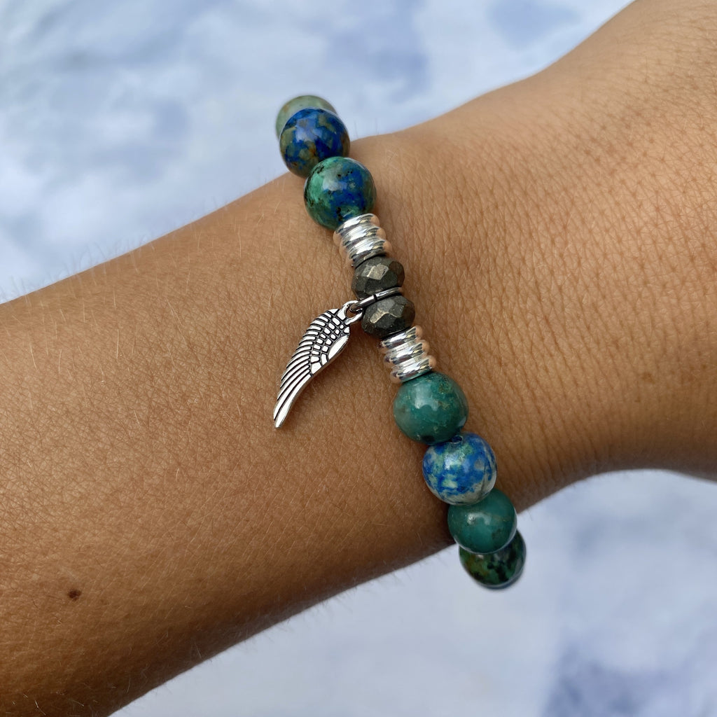 Chrysocolla Stone Bracelet with Angel Wing Sterling Silver Charm