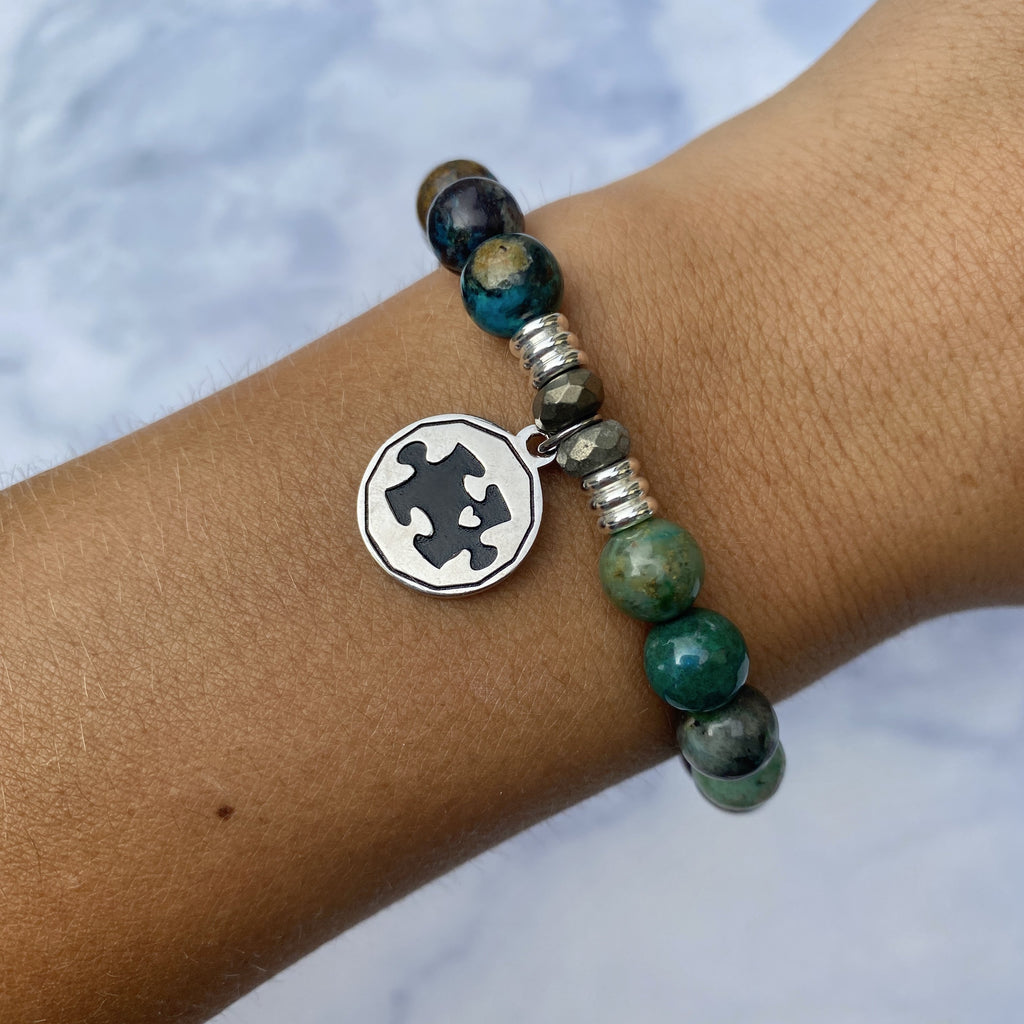Chrysocolla Stone Bracelet with Autism Awareness Sterling Silver Charm