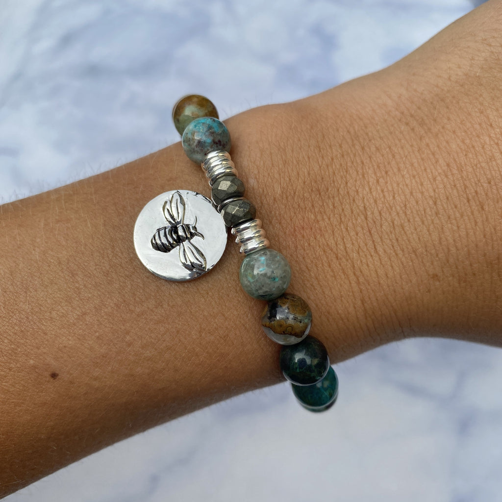 Chrysocolla Stone Bracelet with Bee You Sterling Silver Charm
