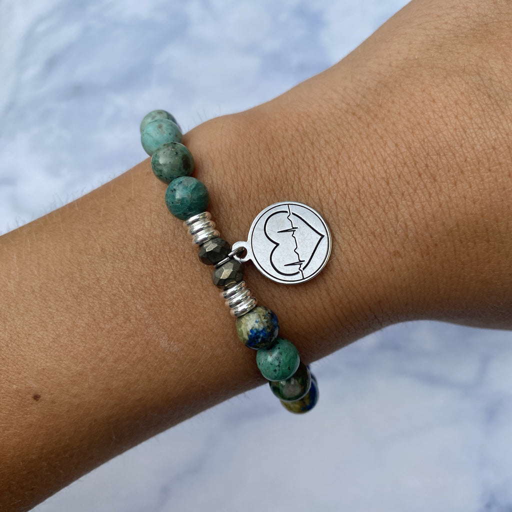 Chrysocolla Stone Bracelet with Caduceus Sterling Silver Charm