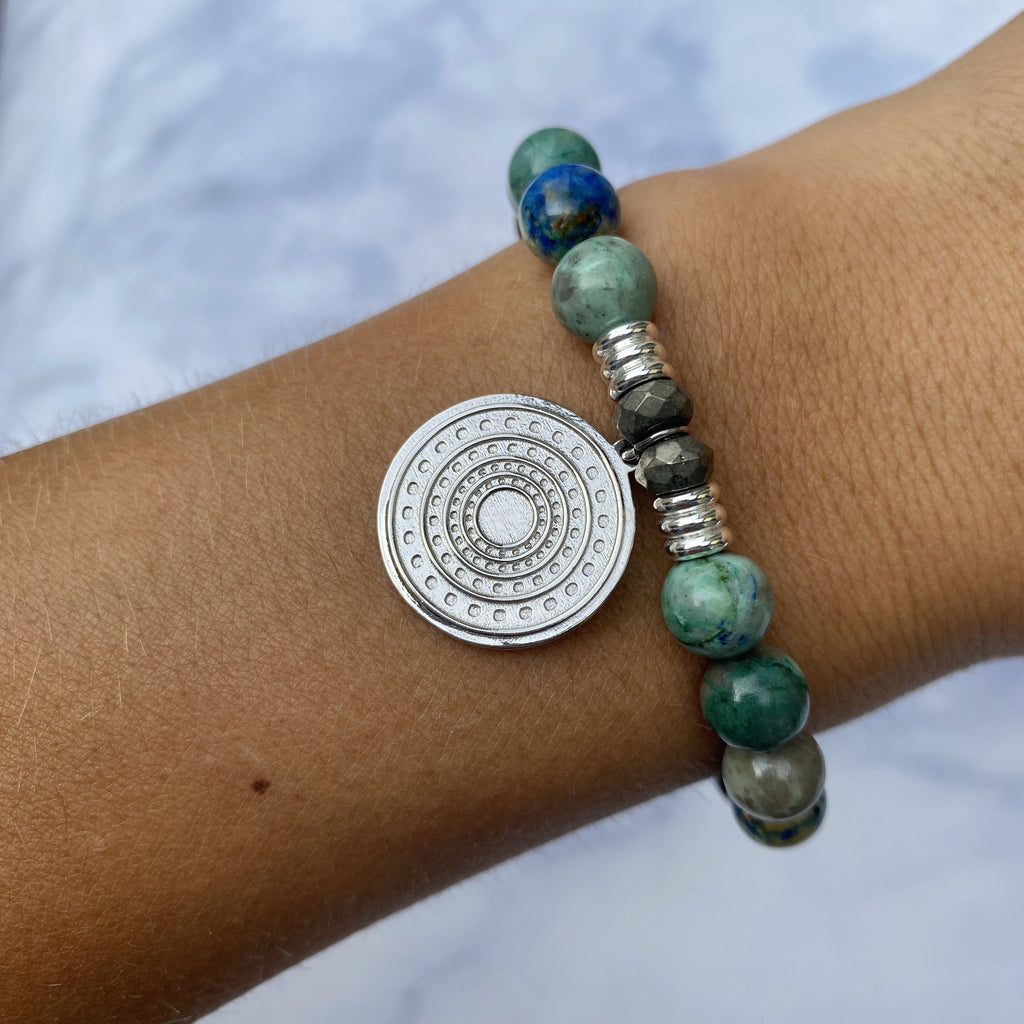 Chrysocolla Stone Bracelet with Family Circle Sterling Silver Charm