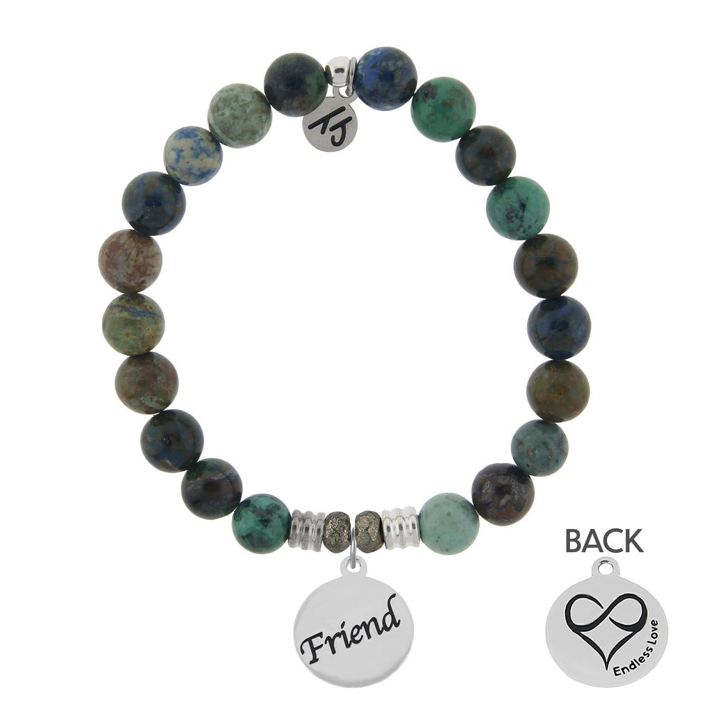 Chrysocolla Stone Bracelet with Friend Endless Love Sterling Silver Charm