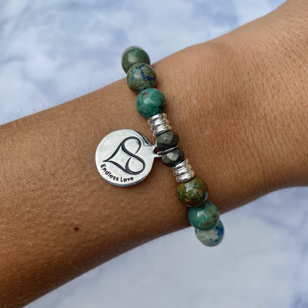 Chrysocolla Stone Bracelet with Granddaughter Endless Love Sterling Silver Charm