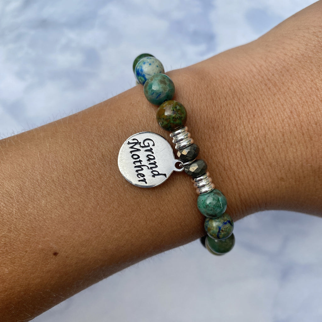 Chrysocolla Stone Bracelet with Grandmother Endless Love Sterling Silver Charm