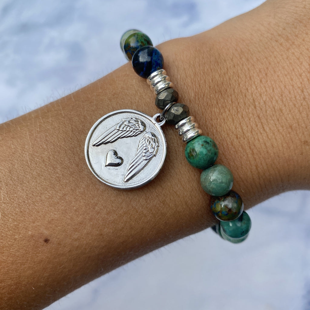 Chrysocolla Stone Bracelet with Guardian Sterling Silver Charm