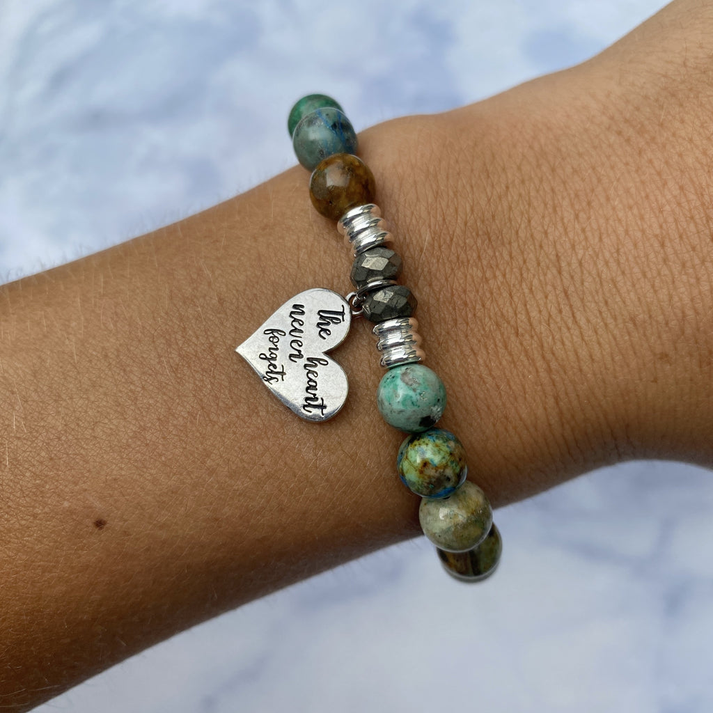 Chrysocolla Stone Bracelet with Heart Never Forgets Sterling Silver Charm