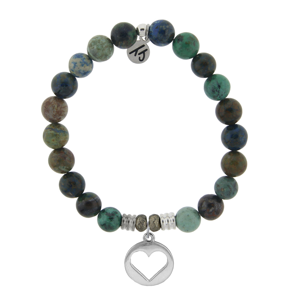 Chrysocolla Stone Bracelet with Heart Sterling Silver Charm