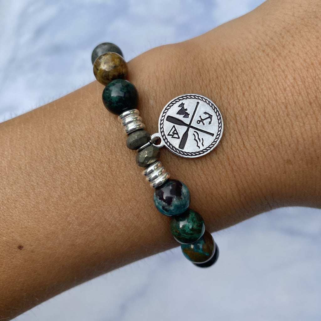 Chrysocolla Stone Bracelet with Lake Life Sterling Silver Charm