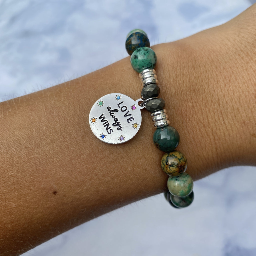 Chrysocolla Stone Bracelet with Love Always Wins Sterling Silver Charm