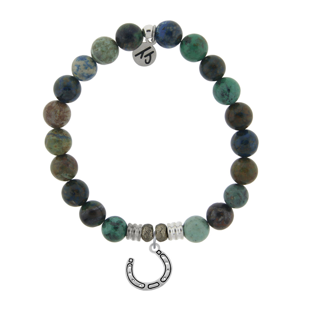 Chrysocolla Stone Bracelet with Lucky Horseshoe Sterling Silver Charm