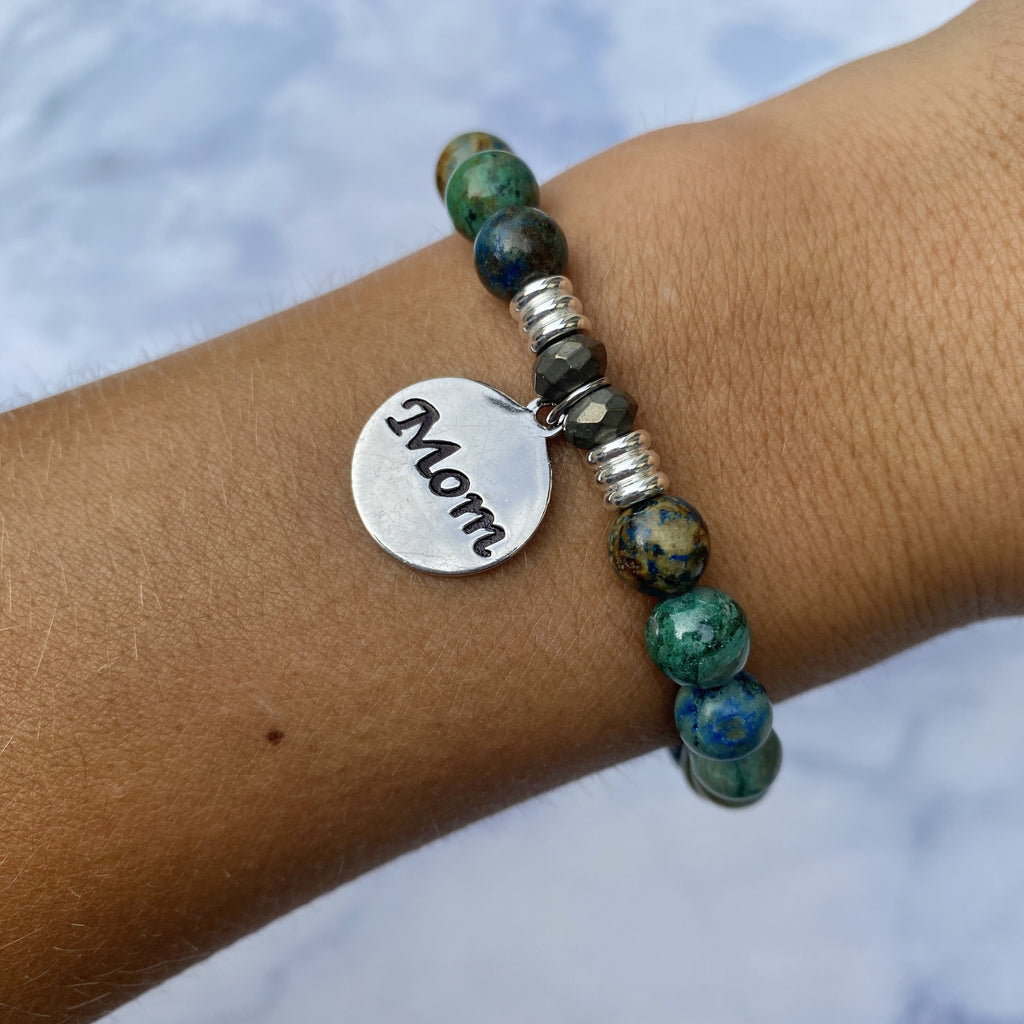 Chrysocolla Stone Bracelet with Mom Endless Love Sterling Silver Charm