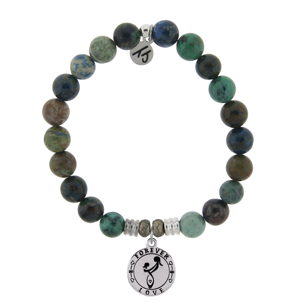 Chrysocolla Stone Bracelet with Mother's Love Sterling Silver Charm