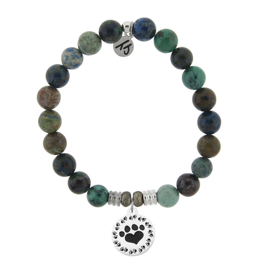 Chrysocolla Stone Bracelet with Paw Print Sterling Silver Charm