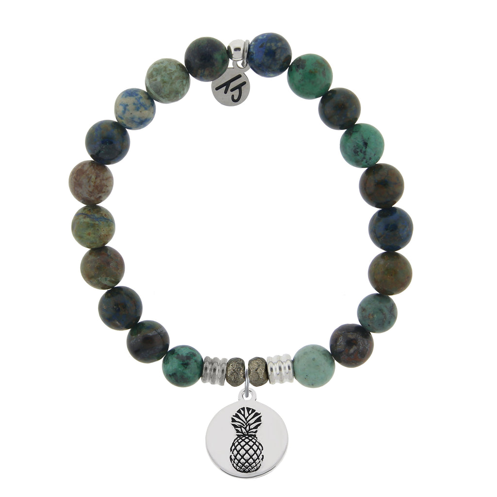 Chrysocolla Stone Bracelet with Pineapple Sterling Silver Charm