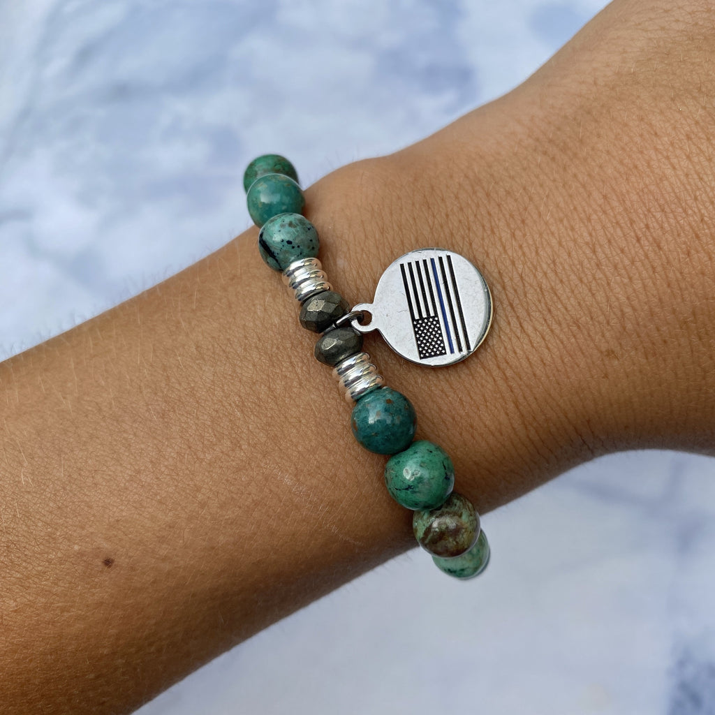 Chrysocolla Stone Bracelet with Police Sterling Silver Charm