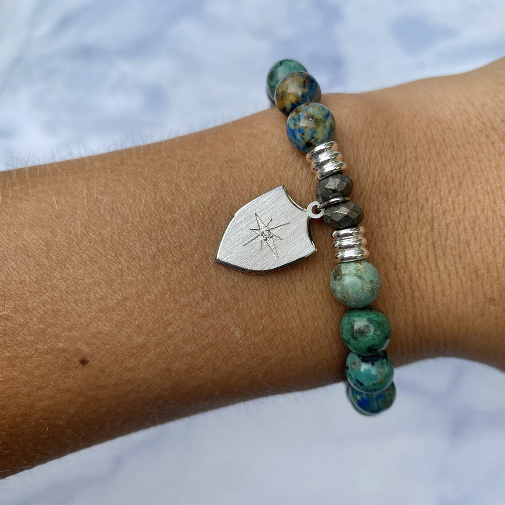 Chrysocolla Stone Bracelet with Shield of Strength Sterling Silver Charm