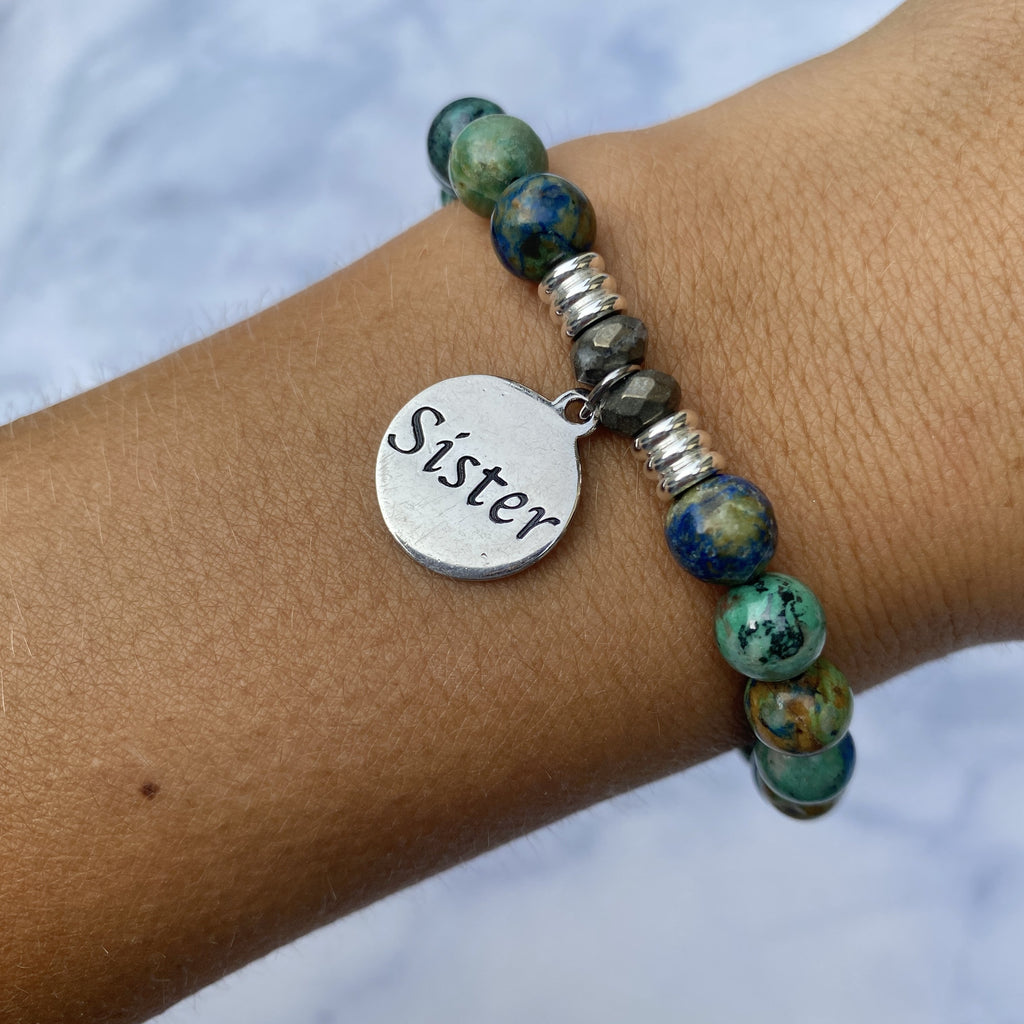 Chrysocolla Stone Bracelet with Sister Endless Love Sterling Silver Charm