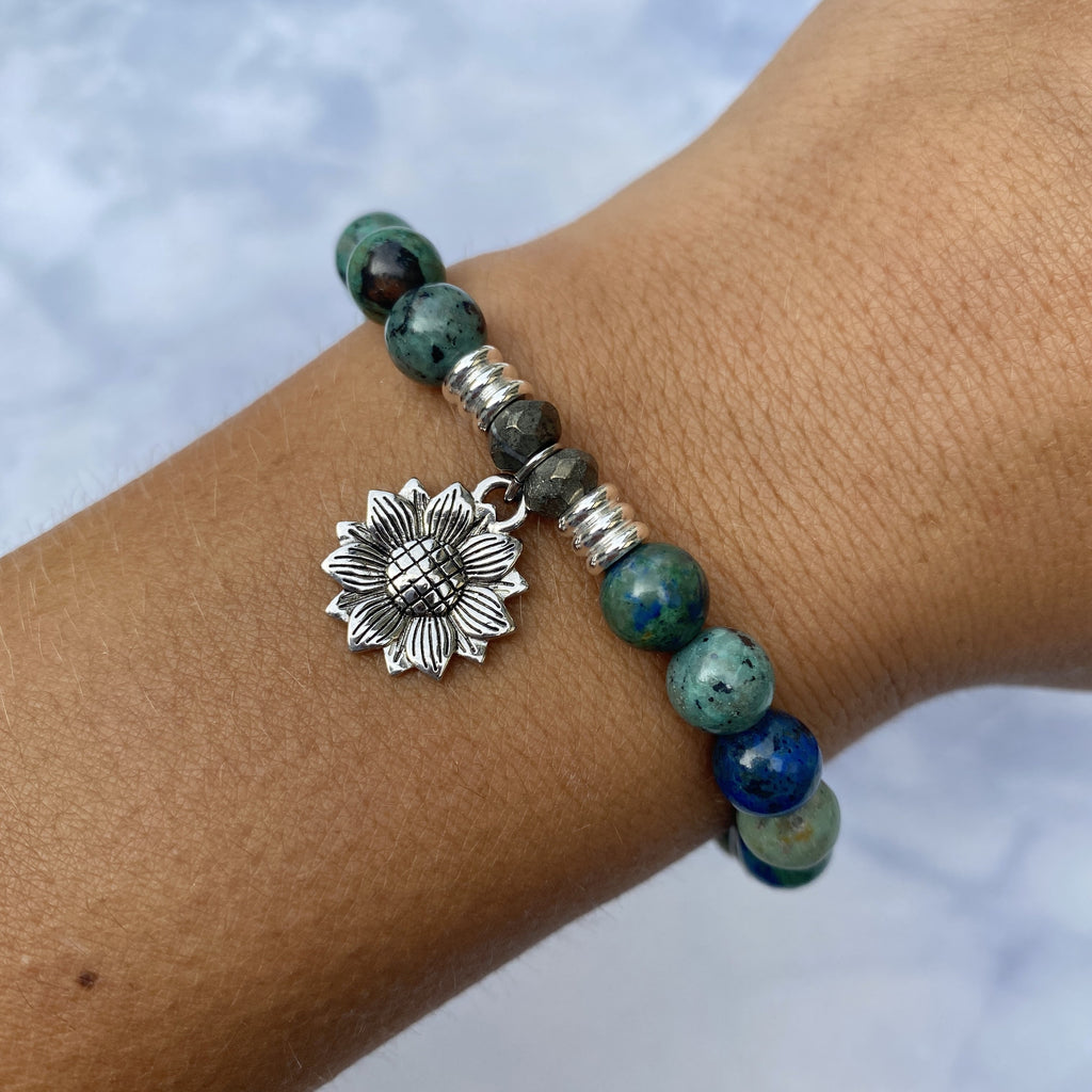 Chrysocolla Stone Bracelet with Sunflower Sterling Silver Charm