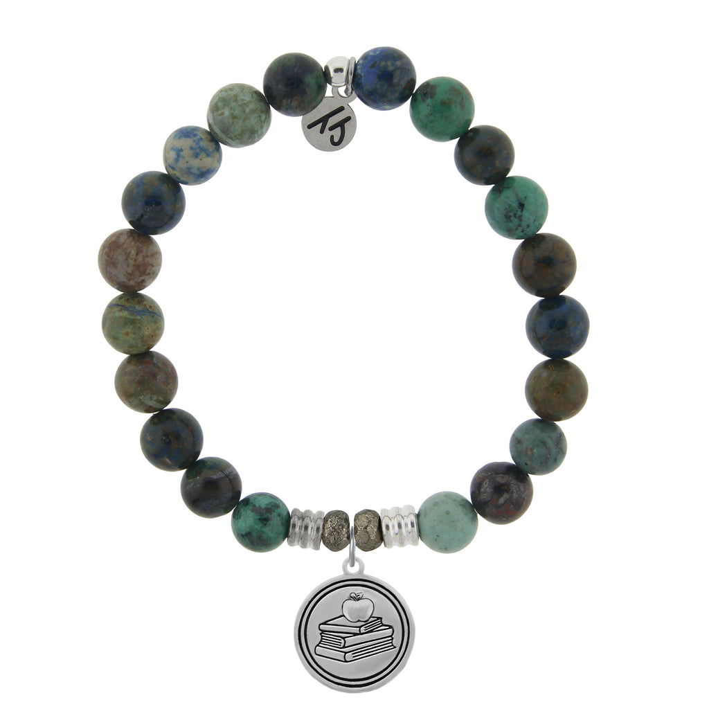 Chrysocolla Stone Bracelet with Teacher Sterling Silver Charm