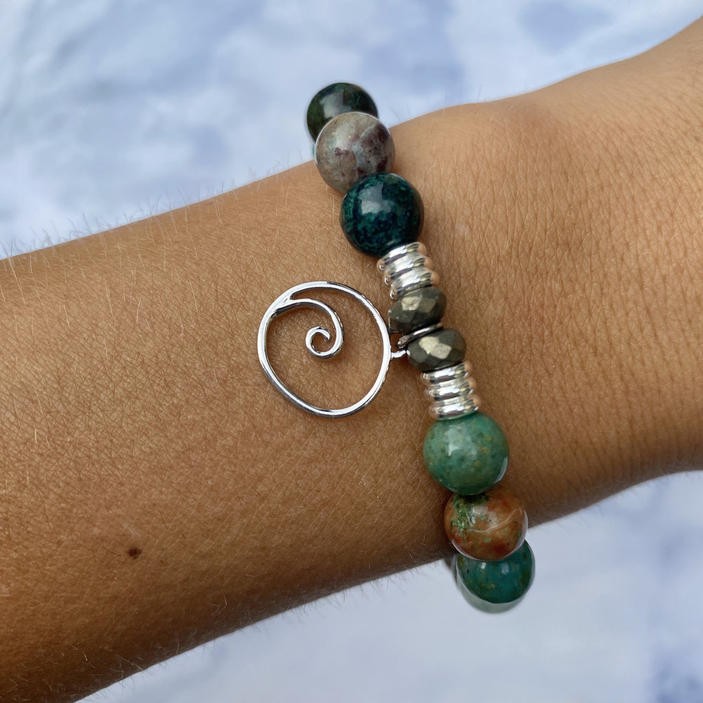 Chrysocolla Stone Bracelet with Wave Sterling Silver Charm