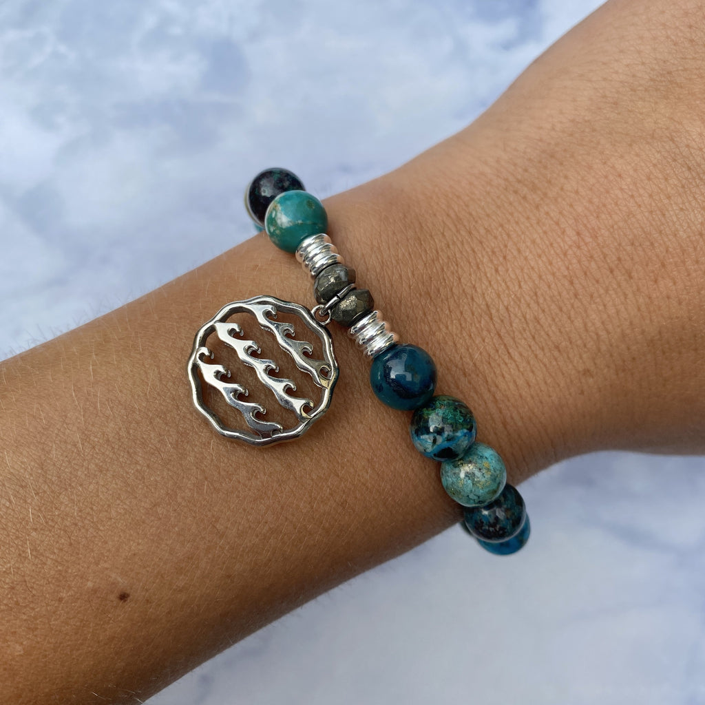 Chrysocolla Stone Bracelet with Waves of Life Sterling Silver Charm