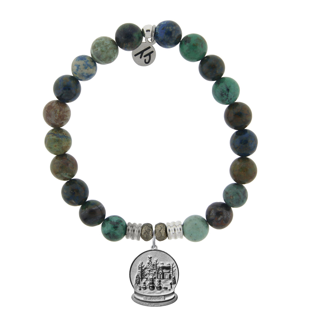 Chrysocolla Stone Bracelet with Winter Wonderland Sterling Silver Charm