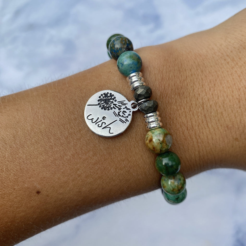 Chrysocolla Stone Bracelet with Wish Sterling Silver Charm