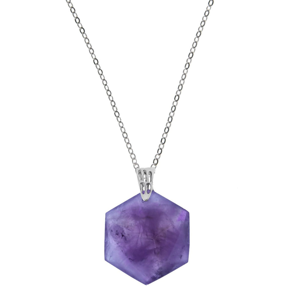 Cleo Crystal Necklace - Amethyst Hexagon